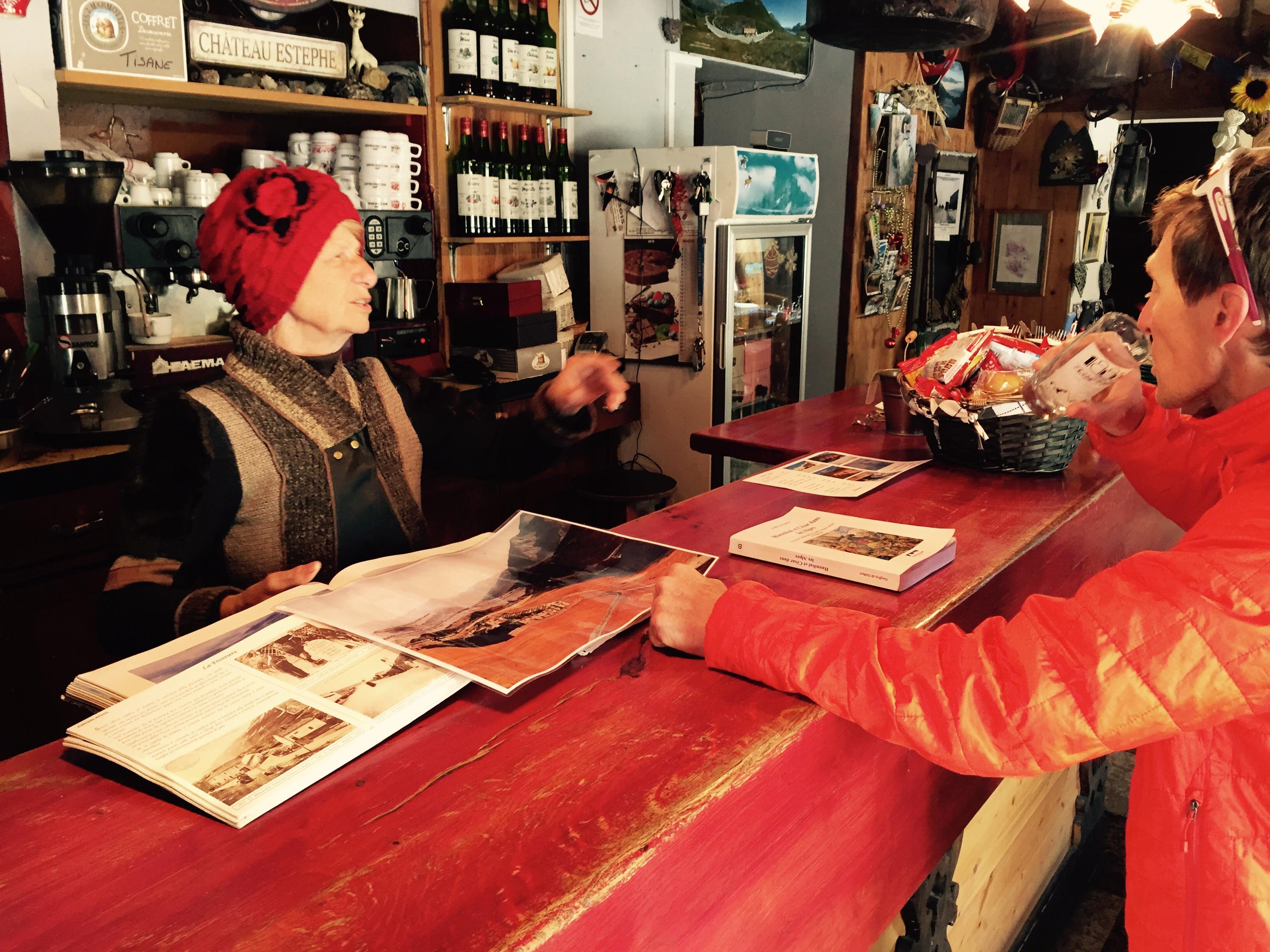 Friendly historian bar lady, Mont Cenis