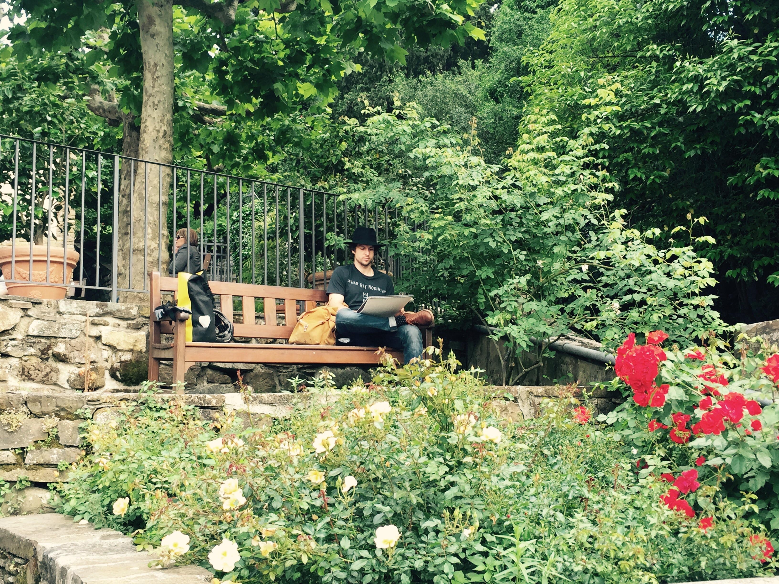 Dan sketching in the Rose Garden, Florence