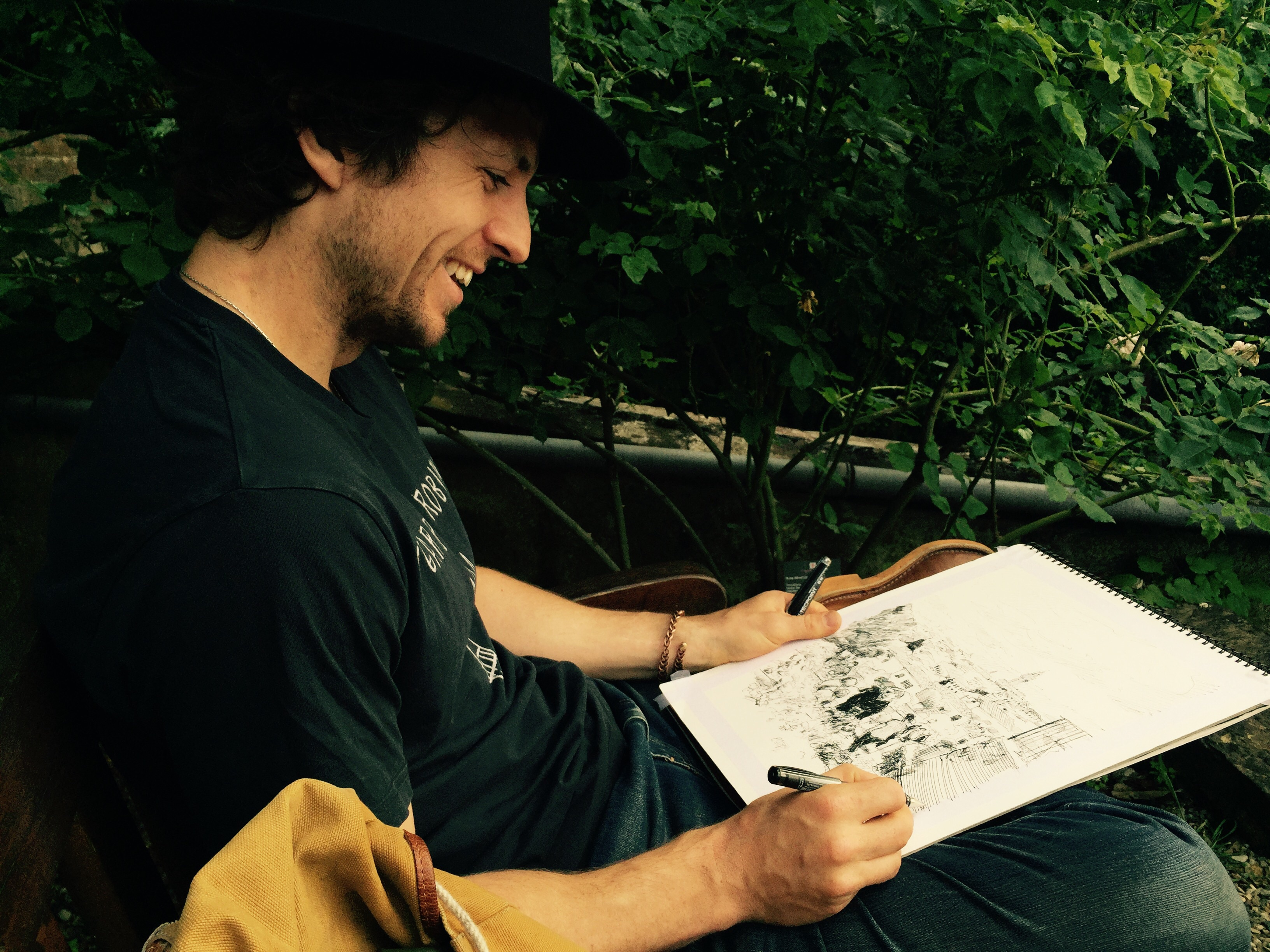 Dan sketching in the Rose Garden, Florence